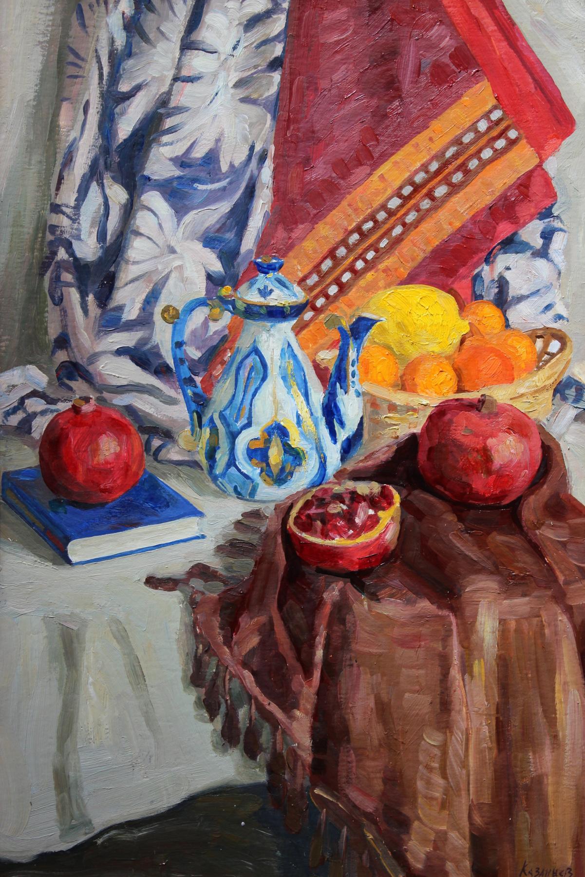 Eugene Alexandrovich Kazantsev. Still life of Pomegranates, jug.