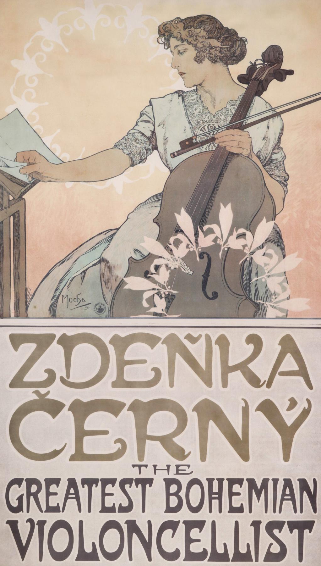 Alphonse Mucha. Poster of cellist Zdenka Cerny