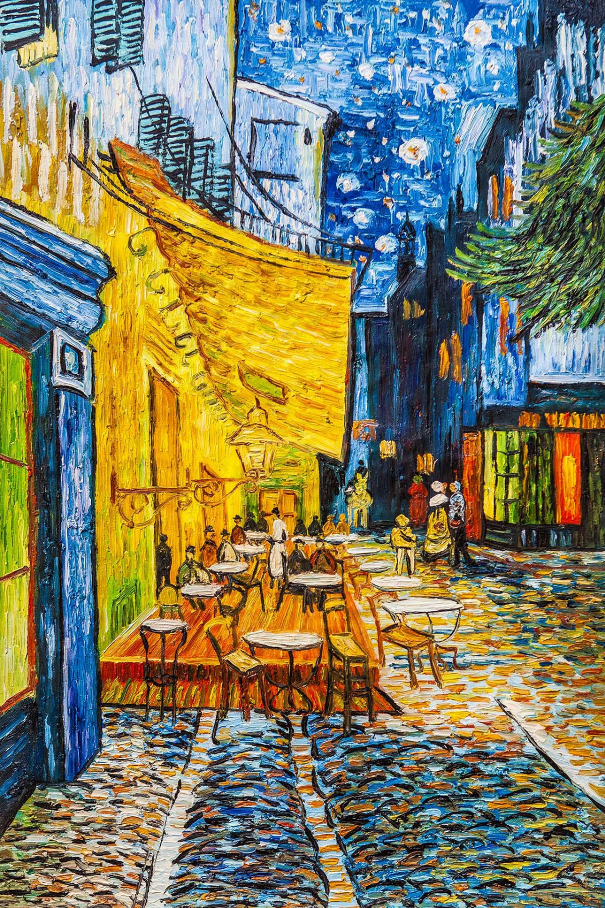 "Andrzej Vlodarczyk. Copy of Van Gogh's painting ""The Terrace of the Place du Forum in Arles"""
