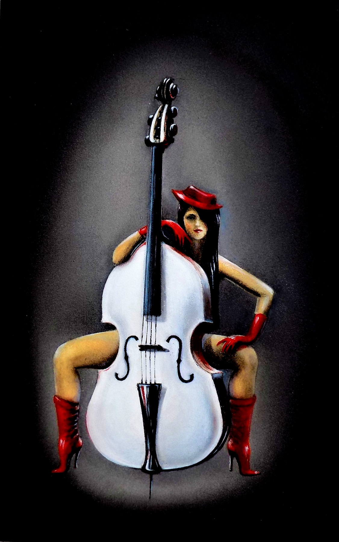 Alex Visiroff. White double bass