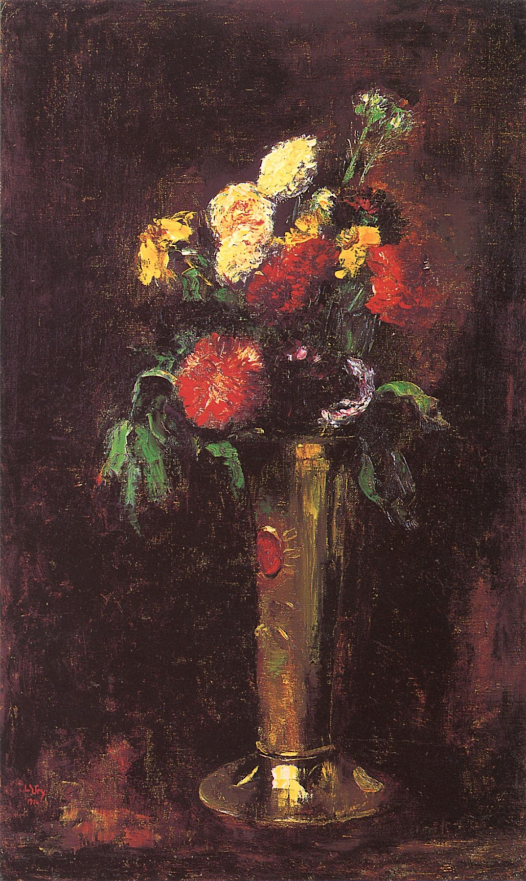 Lesser Ury. Carnations in a tall vase
