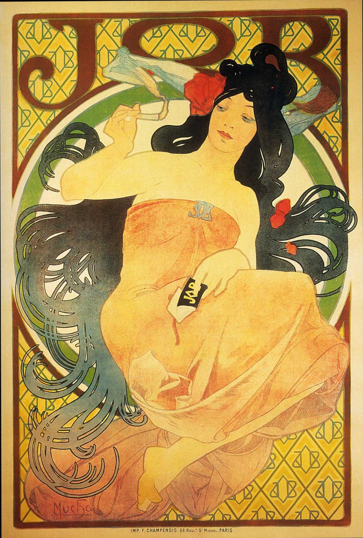 """Alfons Mucha. Advertising poster for the tissue paper """"job"""""""