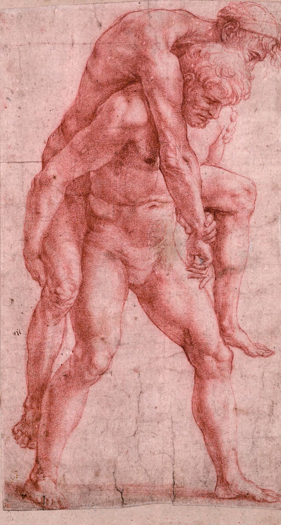 """Рафаэль Санти. Этюд молодого мужчины, несущего старика на спине, для фрески """"Пожар в Борго"""""""