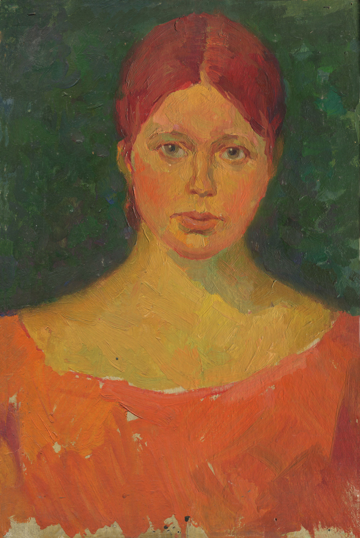 Alexandrovich Rudolf Pavlov. Portrait of a woman in an orange dress.