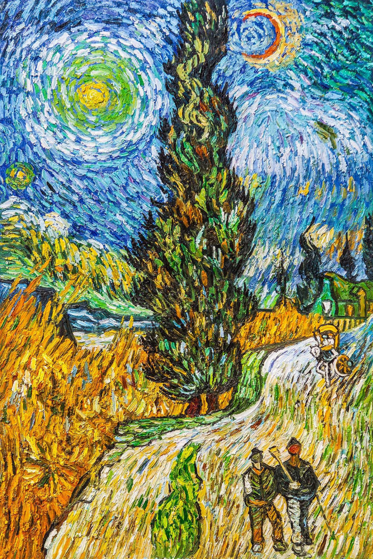 """Andrzej Vlodarczyk. Copy of Van Gogh's painting """"Road with cypress and star"""""""