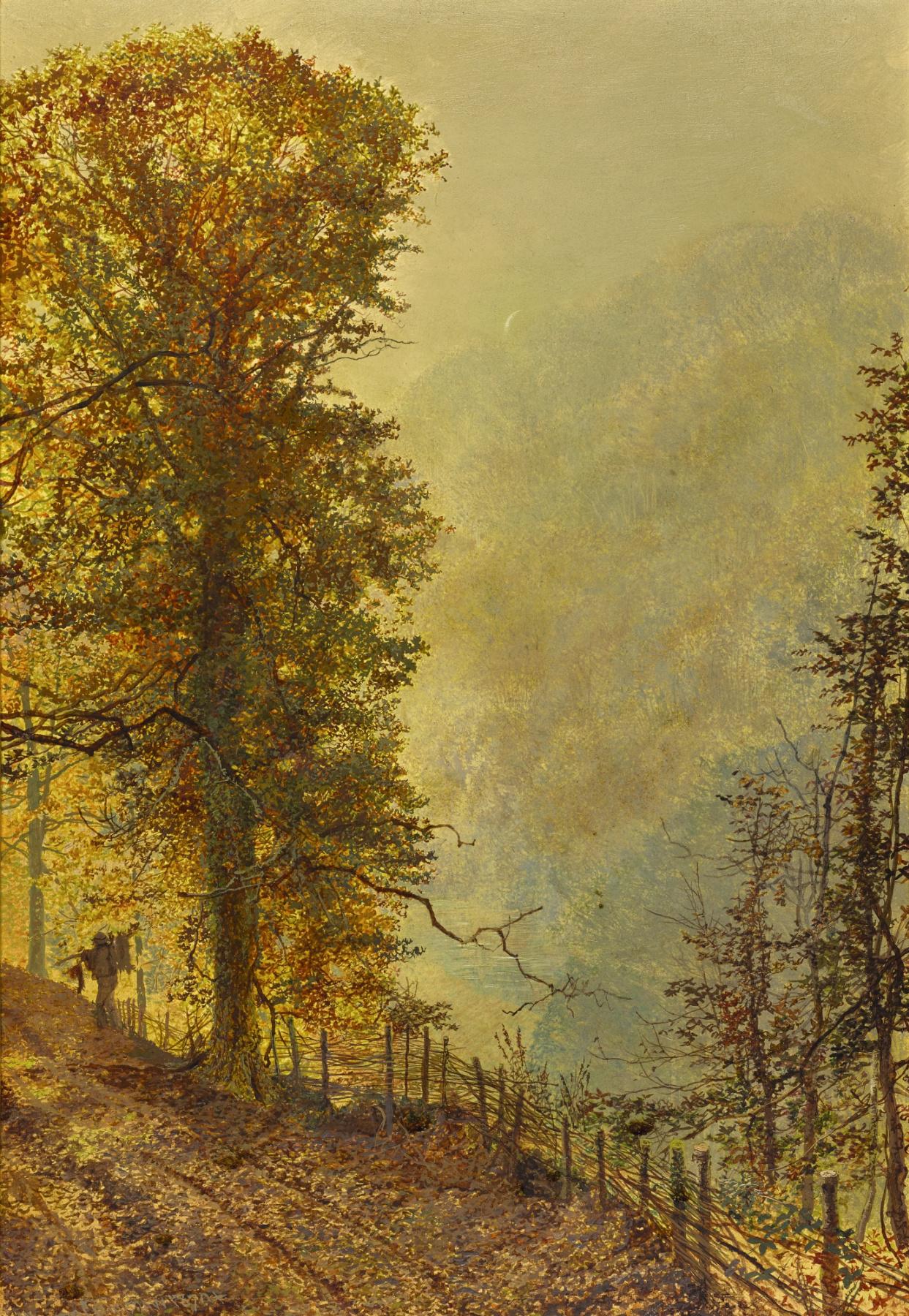 John Atkinson Grimshaw. Riverside Road Rabbit Hunter