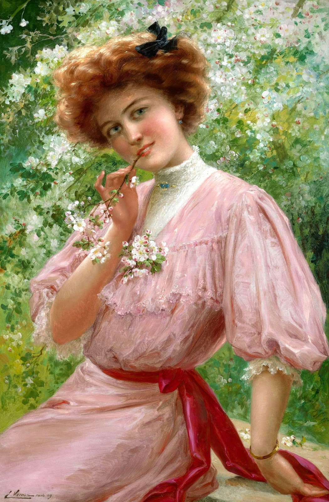 Emile Vernon. Thoughtful look. 1909