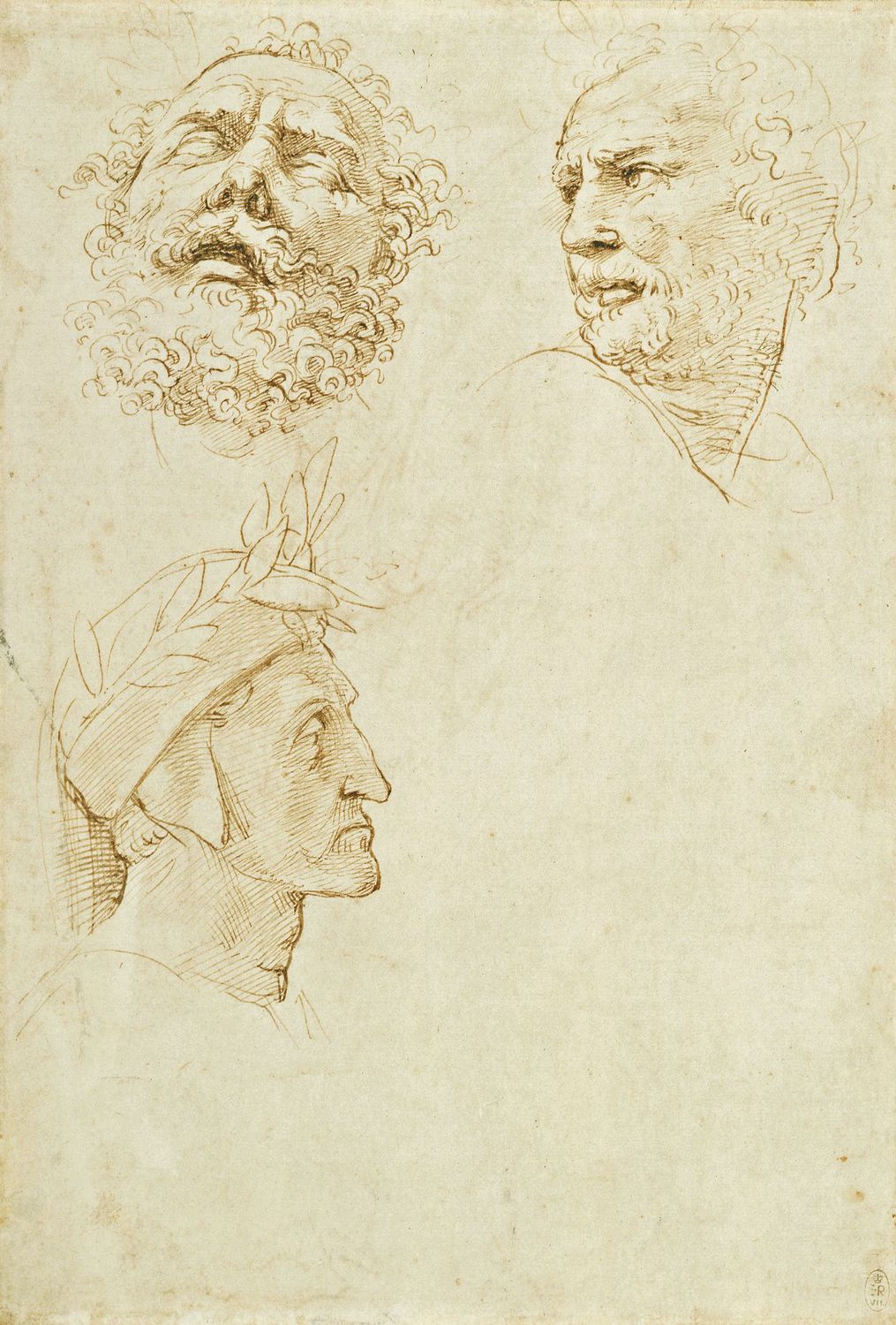 """Raphael Sanzio. Sketches of heads of Homer and Dante for the fresco """"Parnassus"""" Palace of the Pope in the Vatican"""