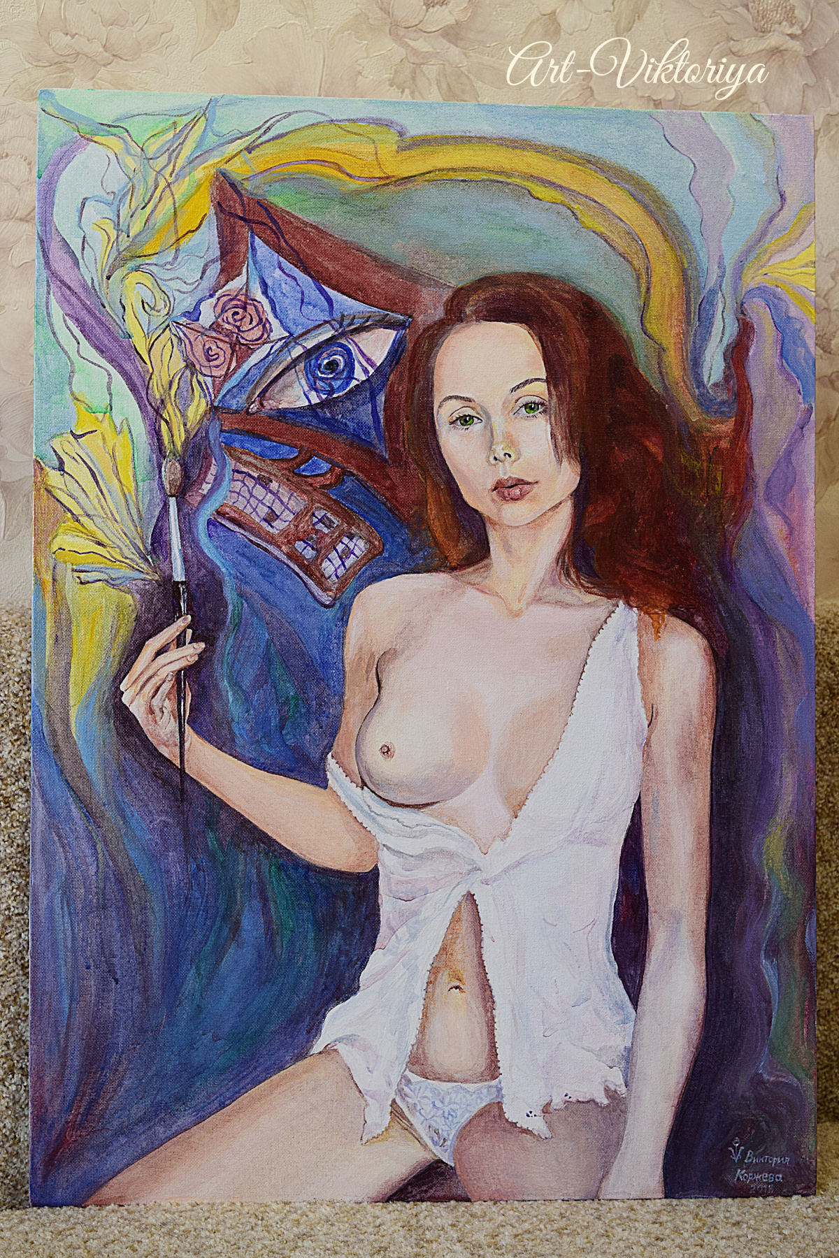 Victoria Vladimirovna Korzheva. Self portrait with brush