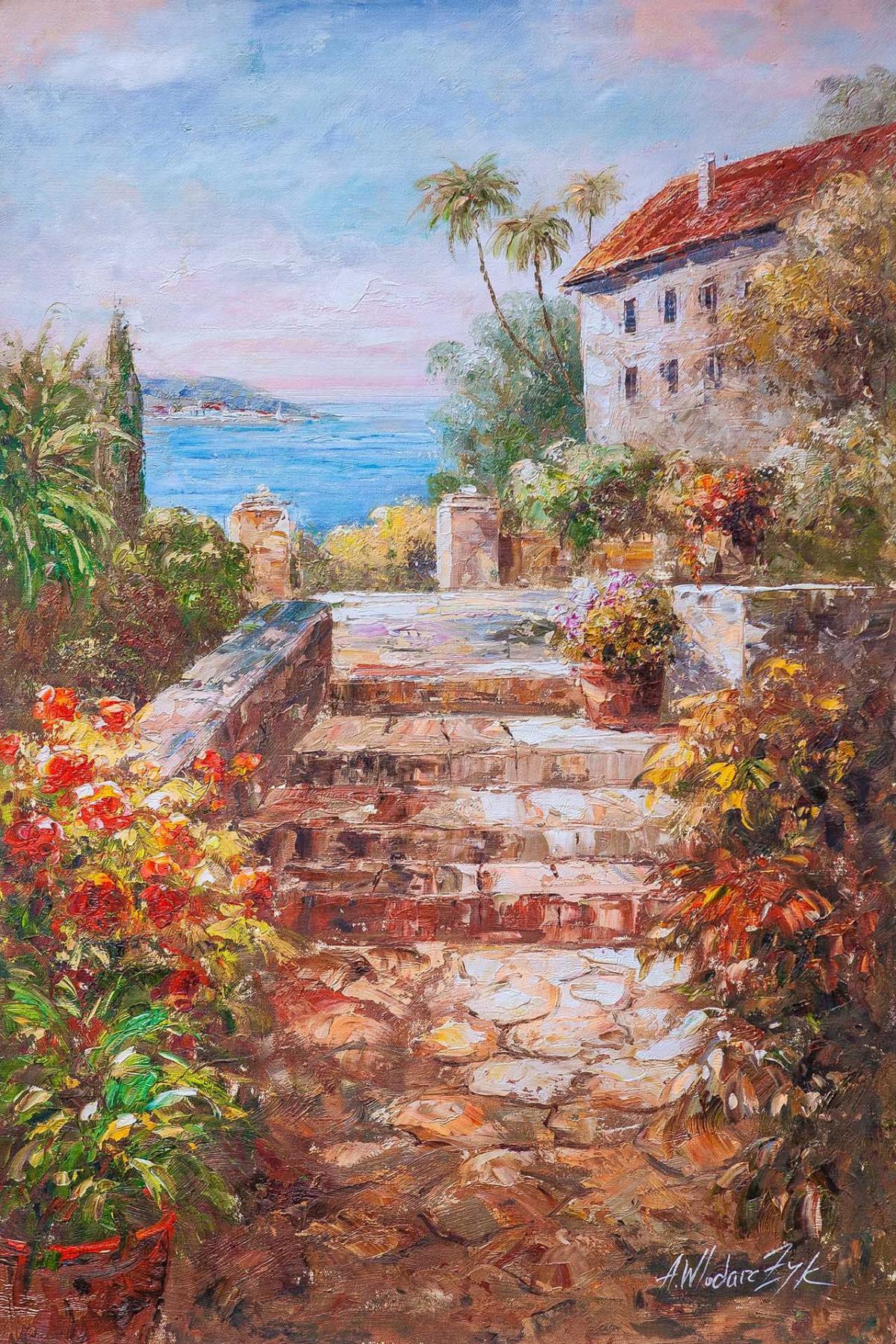 "Andrzej Vlodarczyk. Mediterranean landscape with oil ""Sunny Day"""