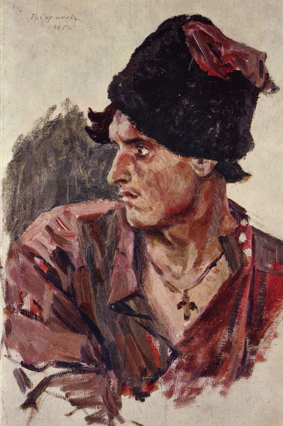 Vasily Ivanovich Surikov. Head of a young Cossack