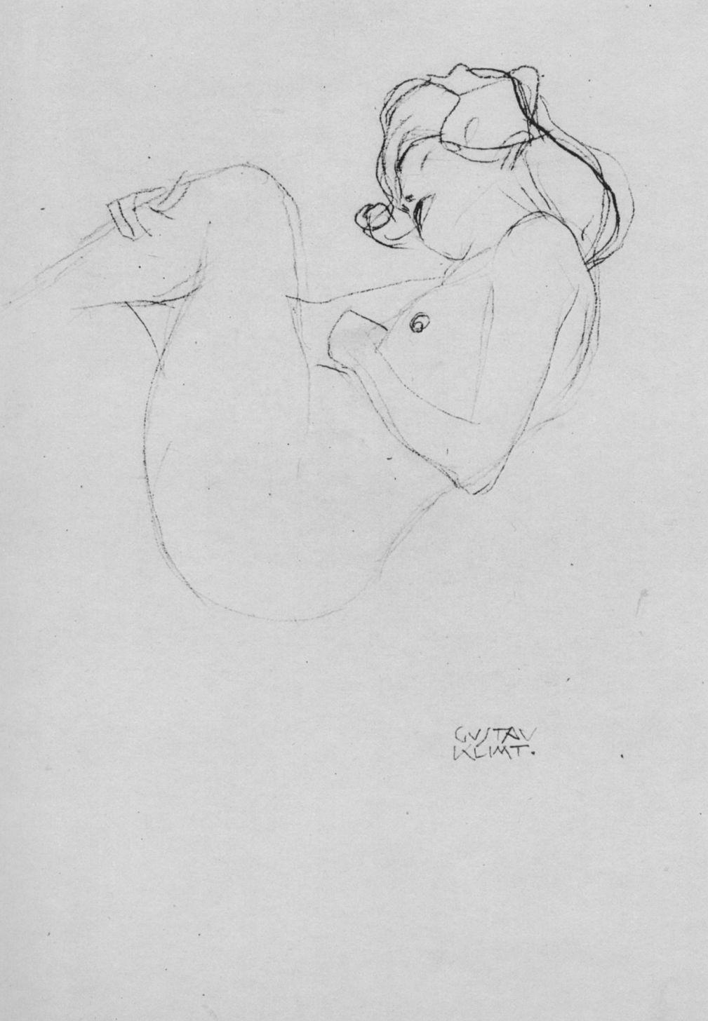 "Gustav Klimt. Nude with raised thigh (Sketch for ""Danae"")"