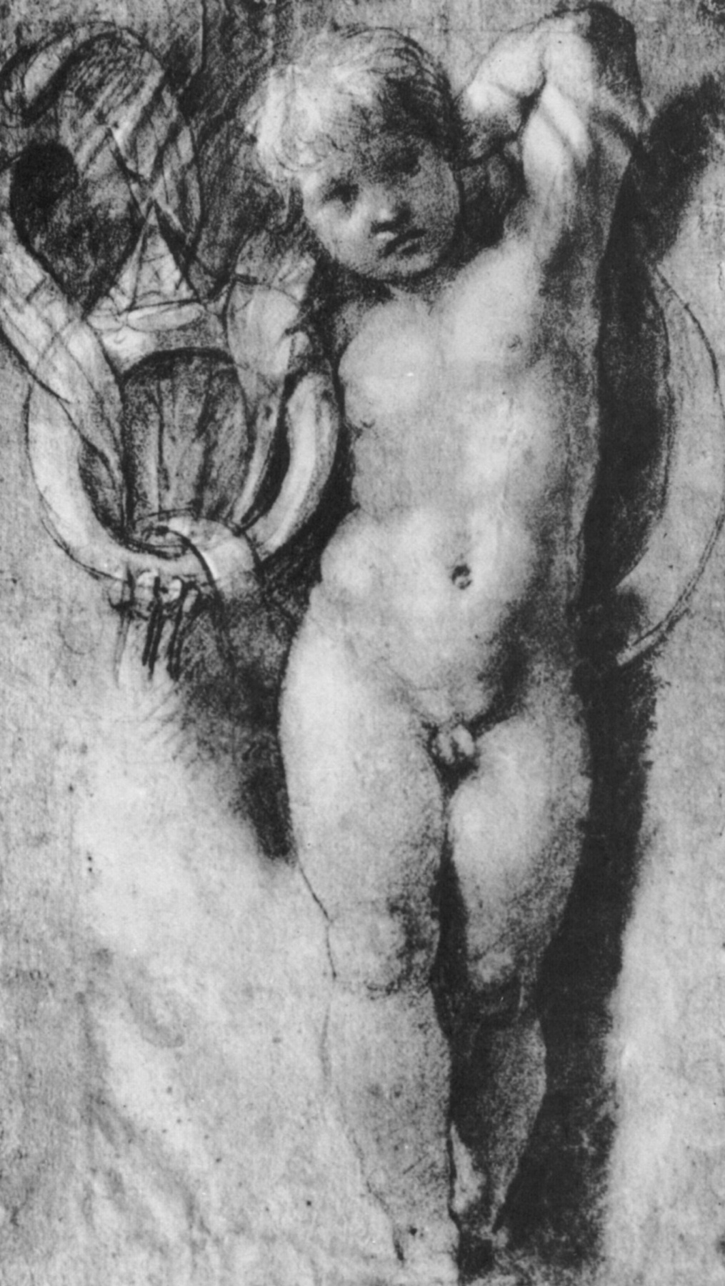 Raphael Sanzio. The cherubim, symbols of the Medici. A study for the stanza d Eliodoro Palace of the Pope in the Vatican