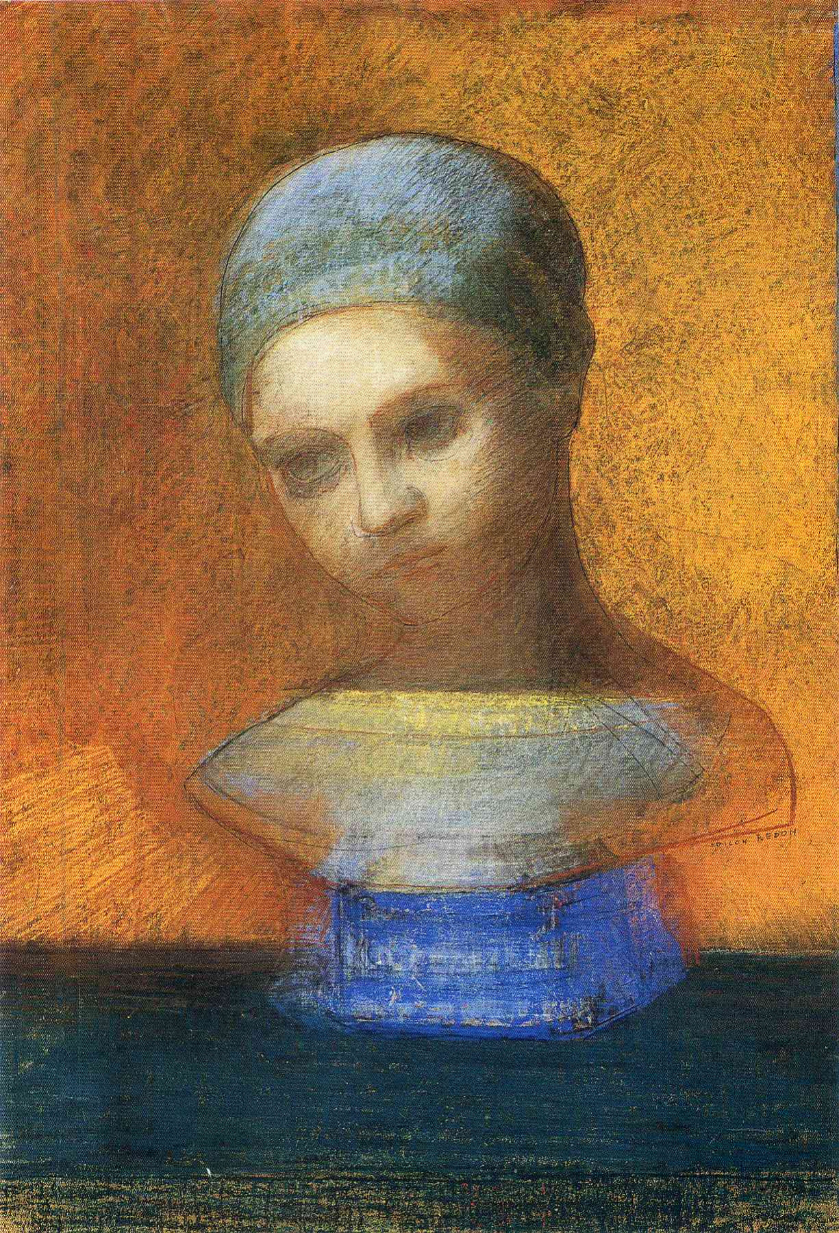 Odilon Redon. Small bust of a young girl