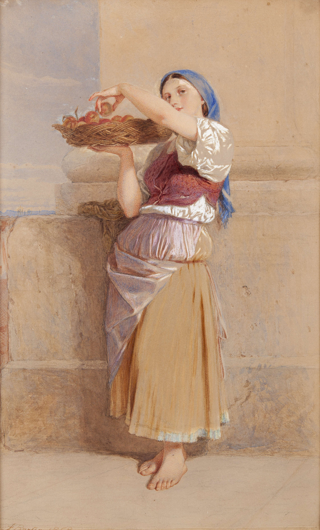 Frederick William Burton. Girl with a basket of peaches