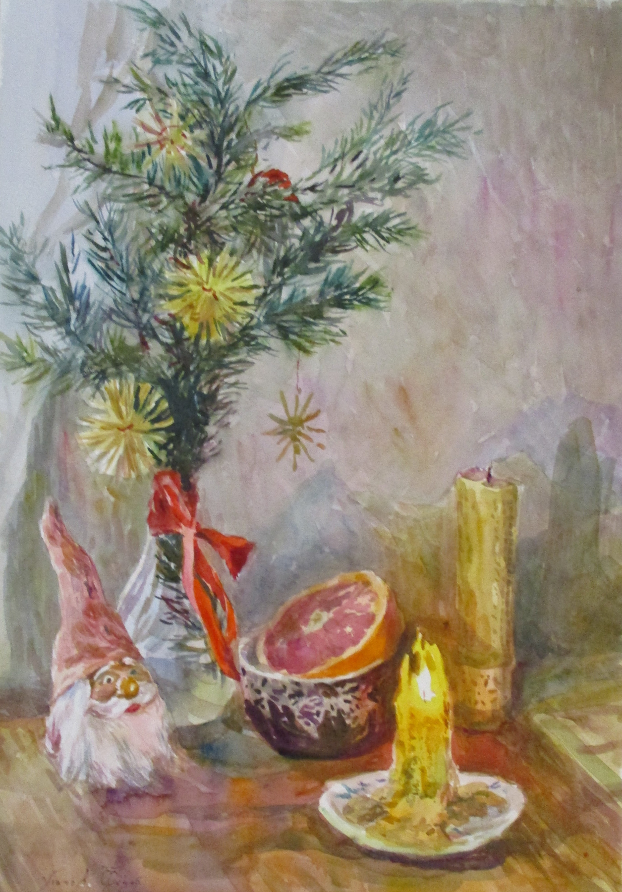 Fedor Dmitrievich Usachev. Magic Christmas candle and gnome.
