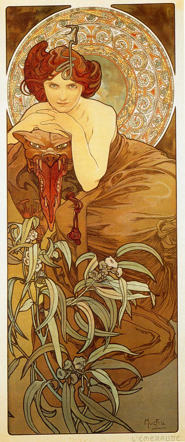 "Alfons Mucha. Emerald. From the series ""Precious stones"""