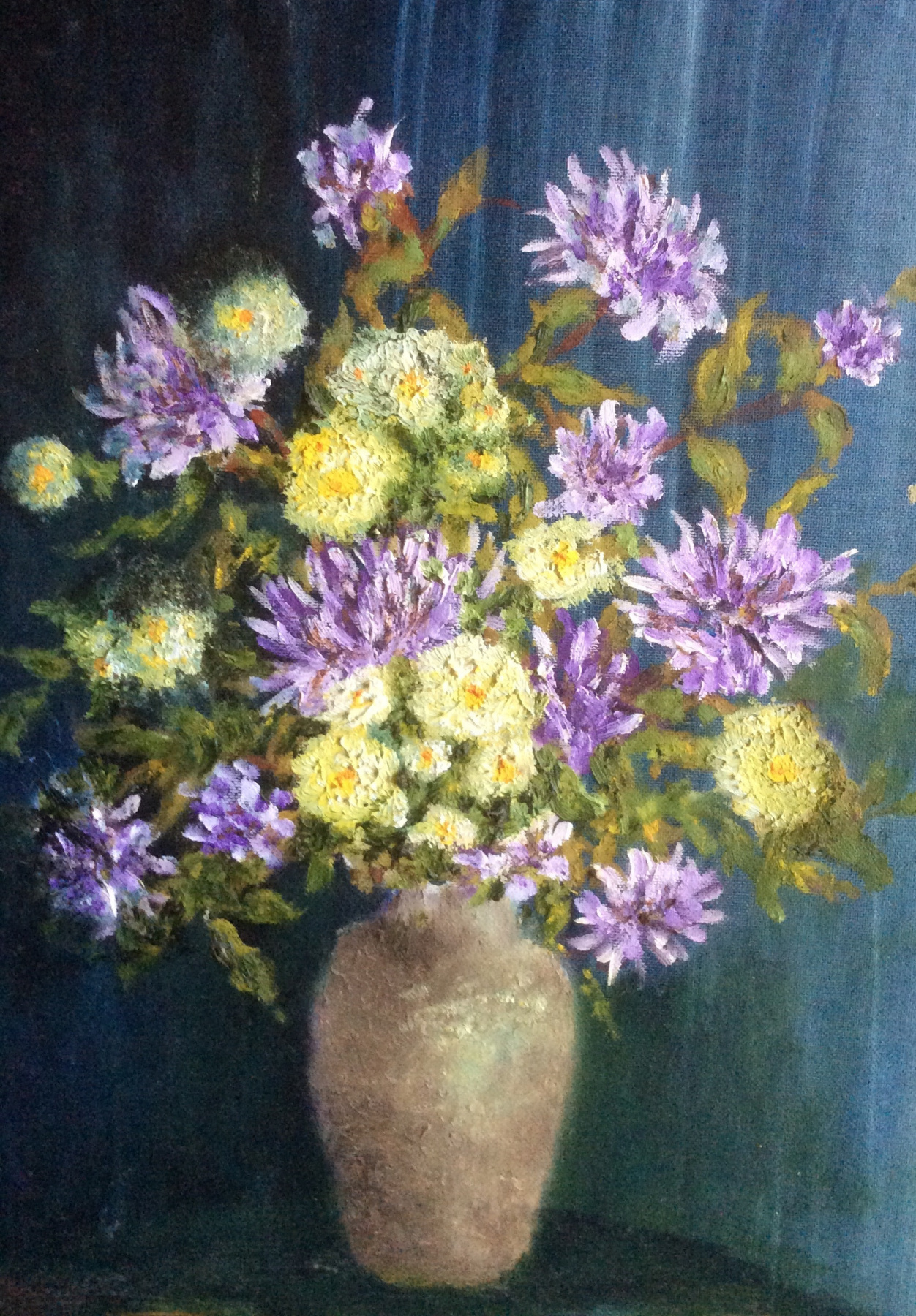Rita Arkadievna Beckman. Chrysanthemums in a Vase