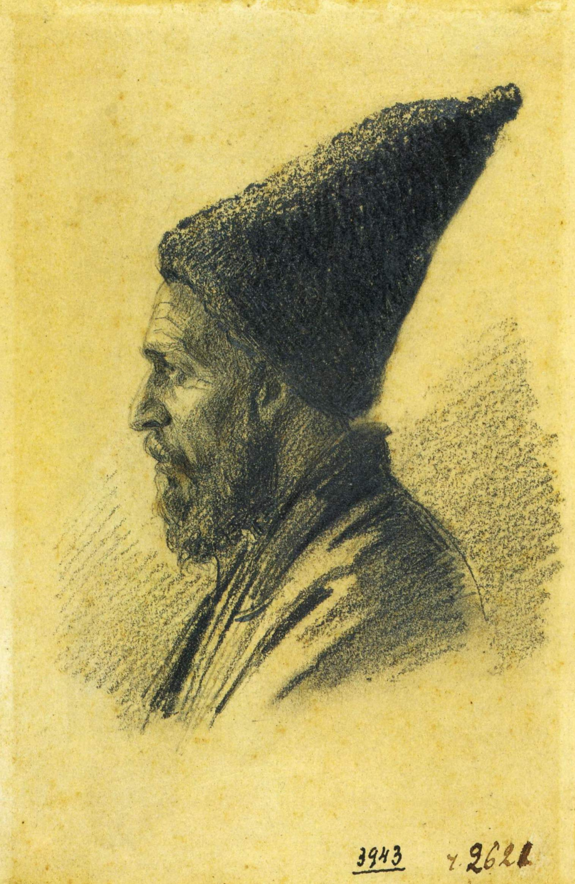 """Vasily Vereshchagin. An elderly Azerbaijani man in a high hat. Drawing from the series """"Journey to the Caucasus"""""""