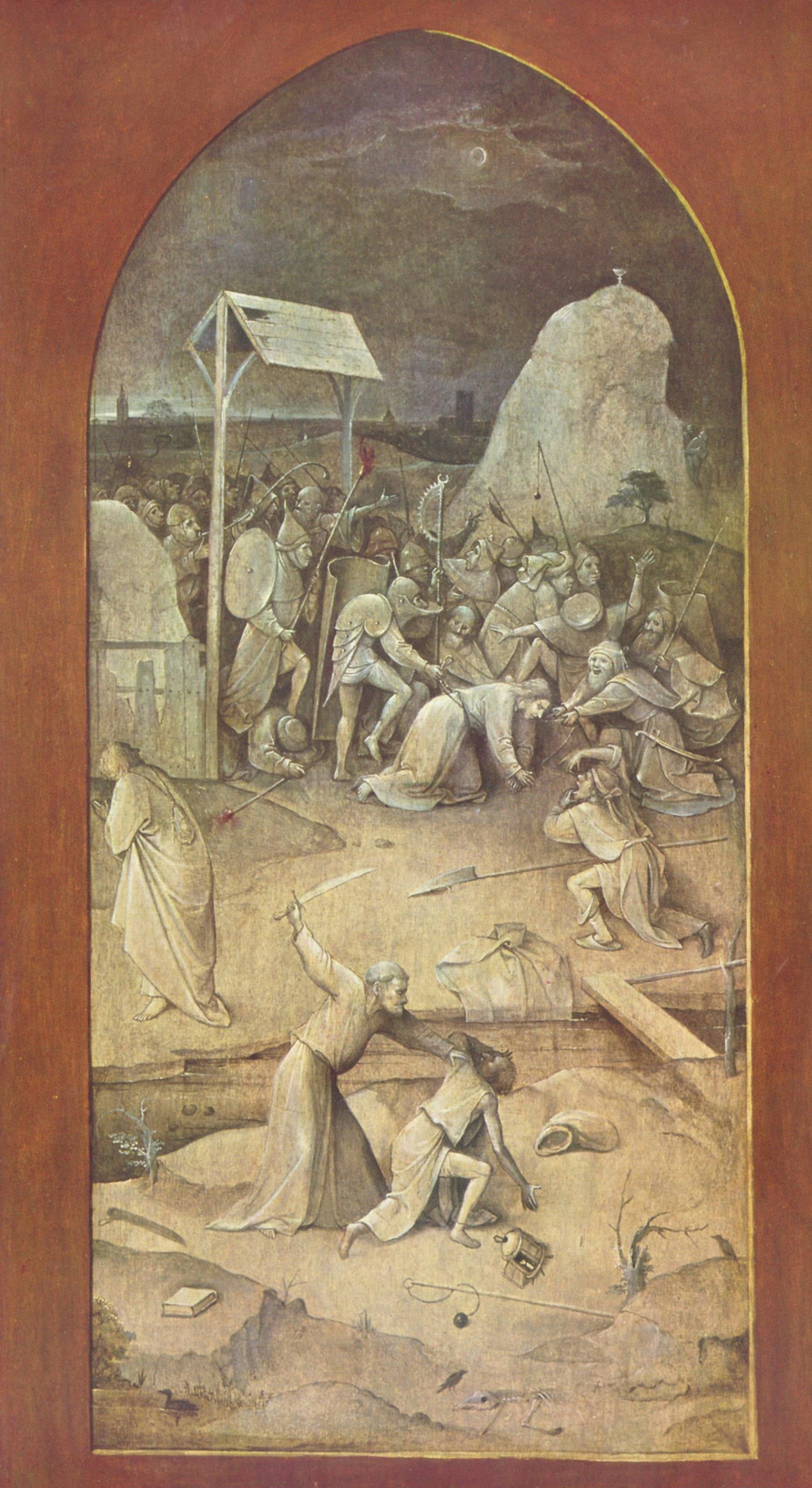 """Hieronymus Bosch. The taking of Christ into custody. Triptych """"The Temptation Of St. Anthony"""". Left outer fold"""