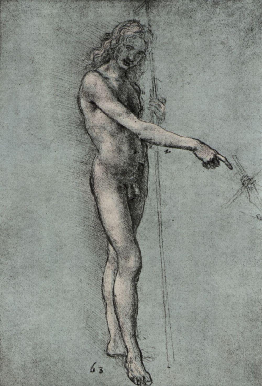 Leonardo da Vinci. Nude study for the figure of John the Baptist