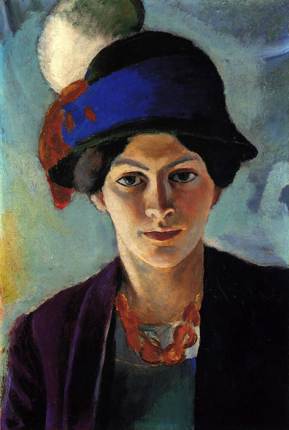 August Macke. Portrait of the artist's wife in a hat