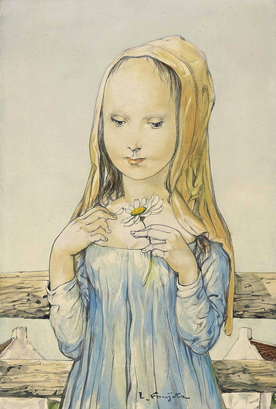 Zuguharu Fujita (Léonard Fujita). Girl with chamomile