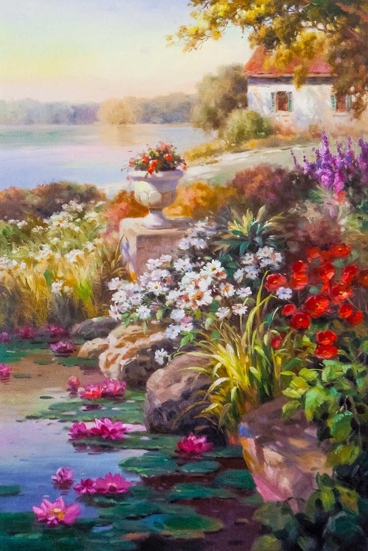 Savely Kamsky. Цветущий сад на фоне озера