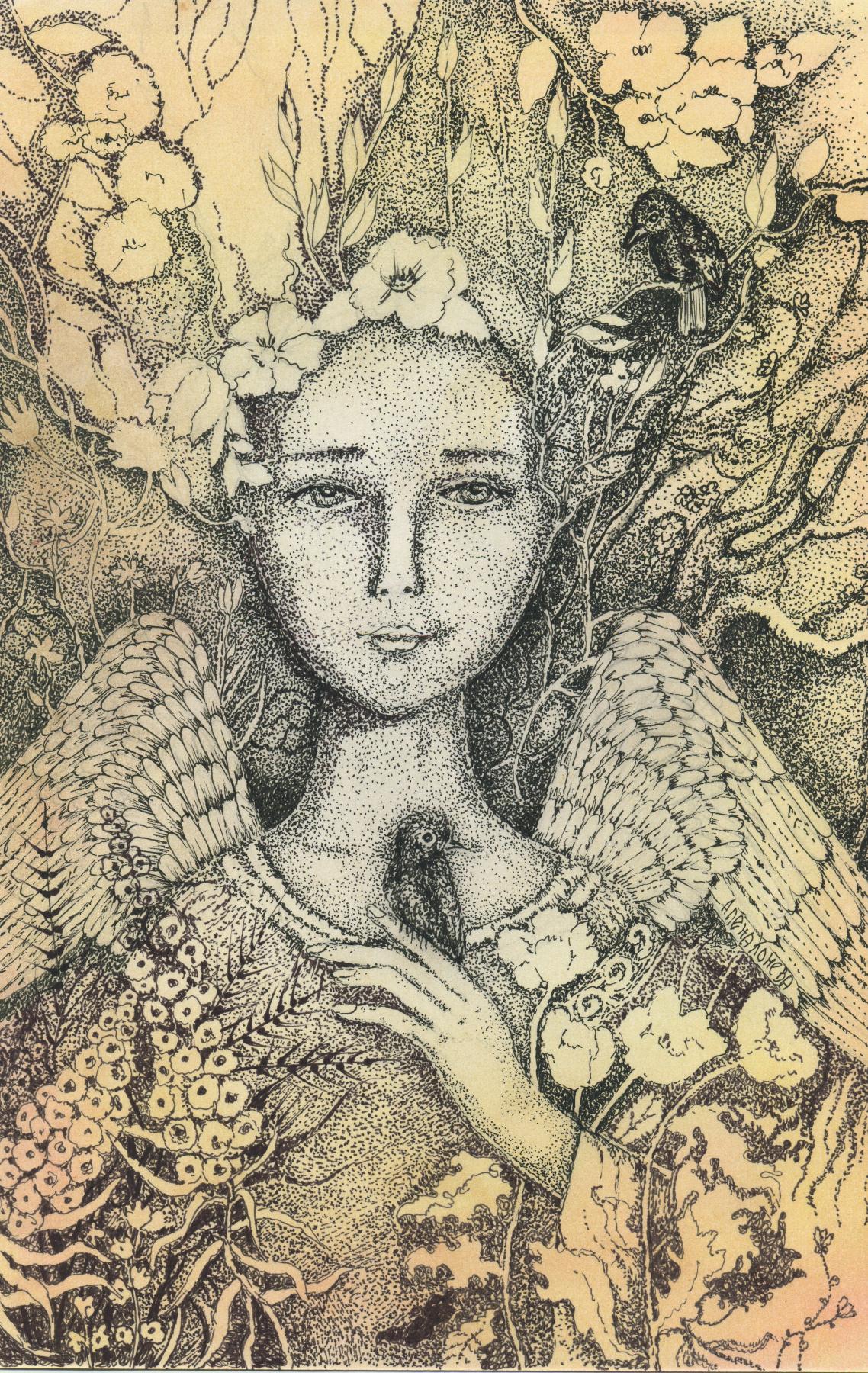 Olyona Ivanovna Koneva. Angel with a bird