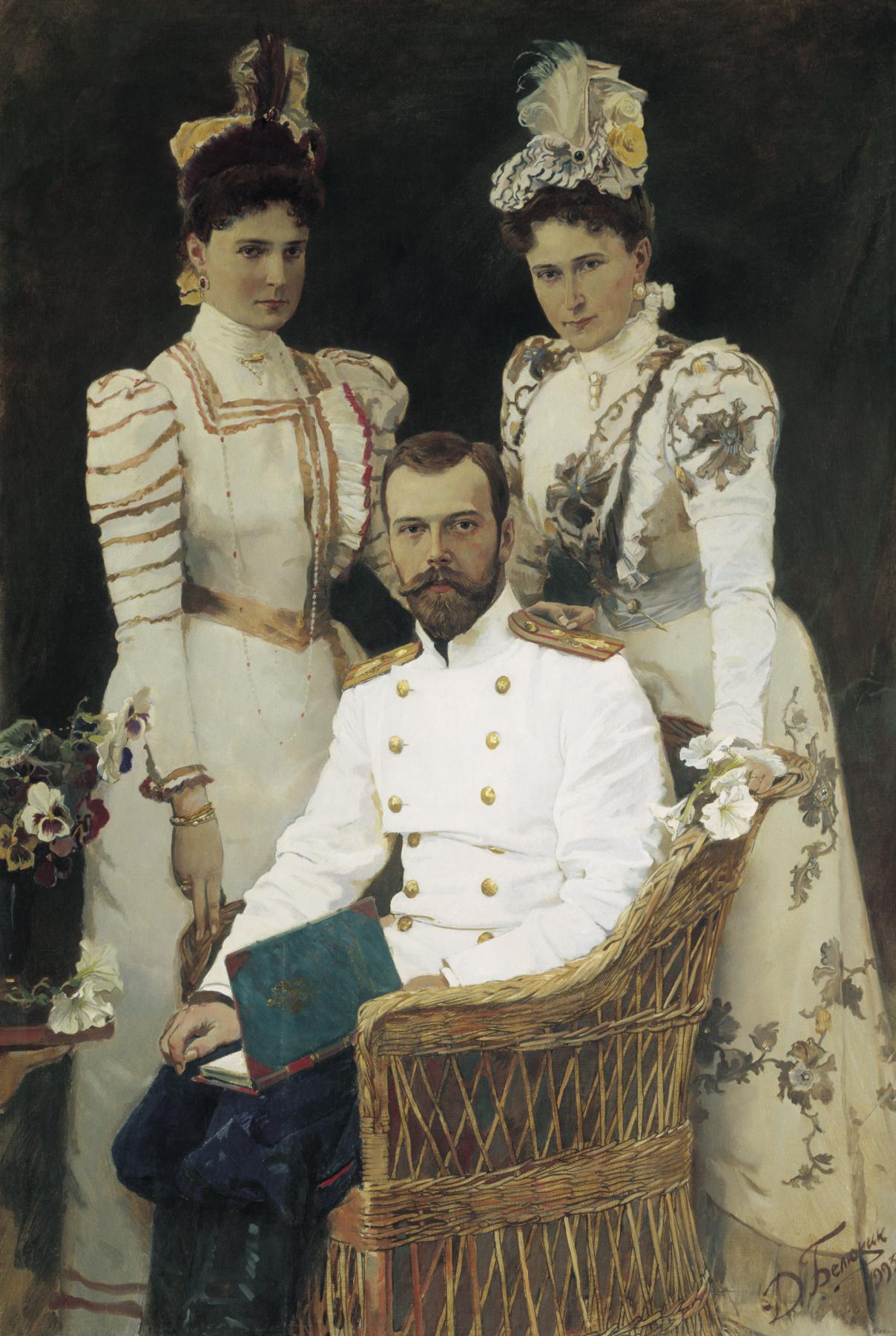 Dmitry Anatolyevich Belyukin. Sovereign Emperor Nikolai Alexandrovich, Empress Alexandra Feodorovna and Grand Duchess Elizaveta Fedorovna