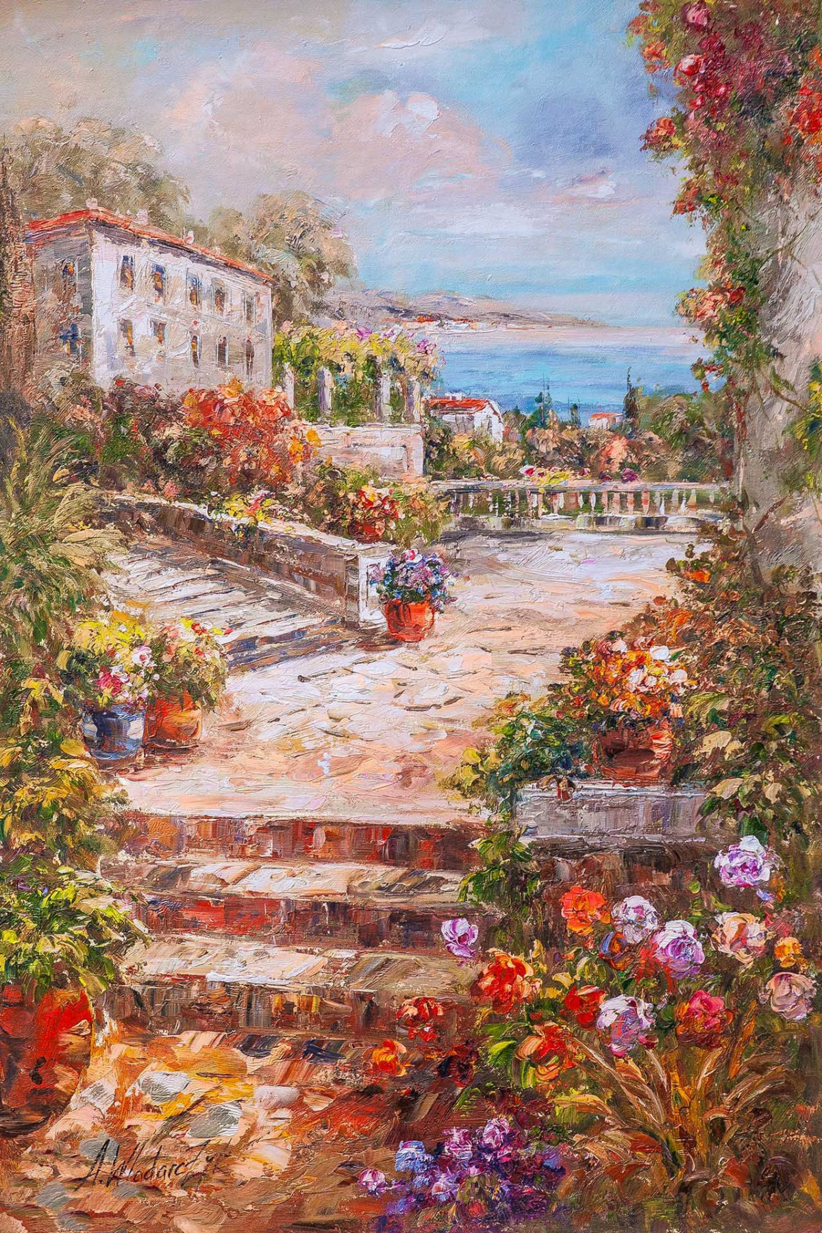 """Andrzej Vlodarczyk. Oil painting """"In the summer courtyard N2"""""""