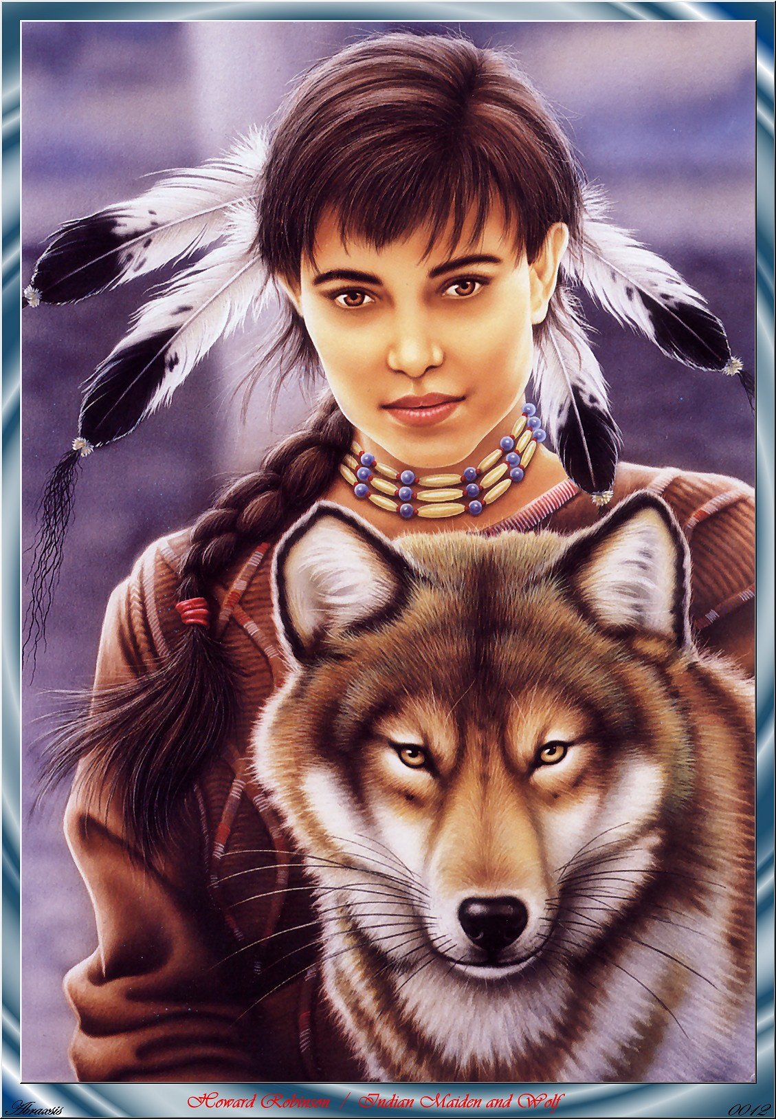 Howard Robinson. Indian maiden and wolf