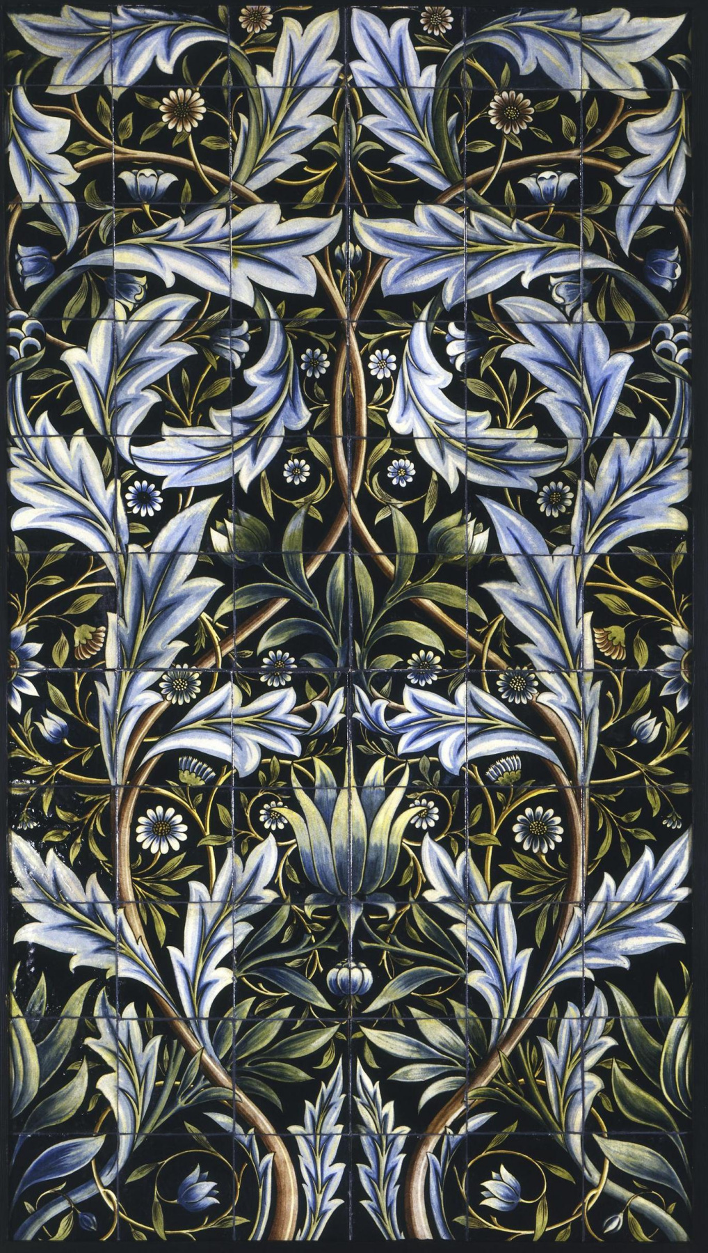 William Morris. Flowers on black