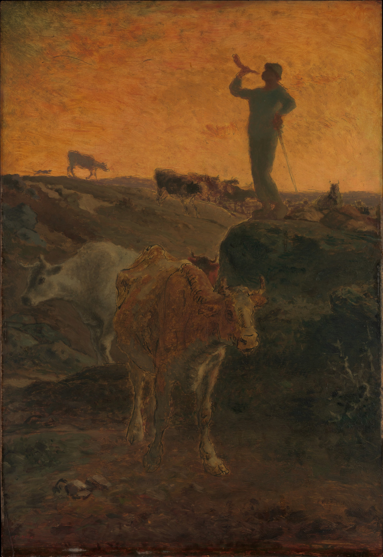 Jean-François Millet. A trumpeting shepherd calling the flock home