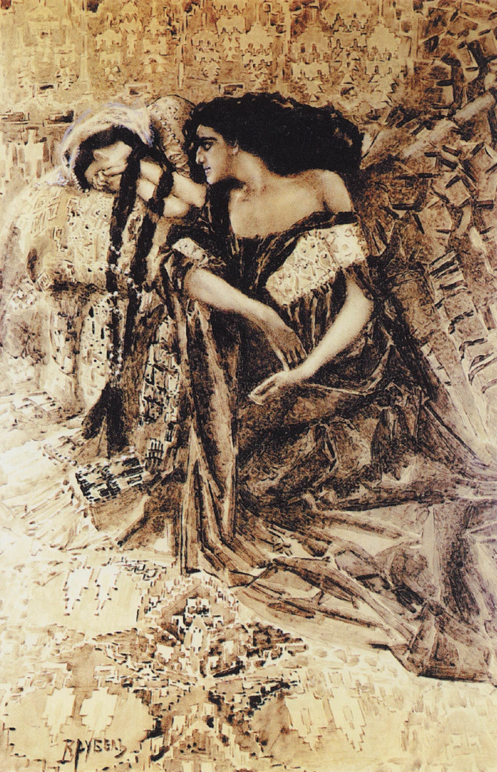 "Mikhail Vrubel. Tamara and the Demon. Illustration to the poem by Mikhail Lermontov ""Demon"""