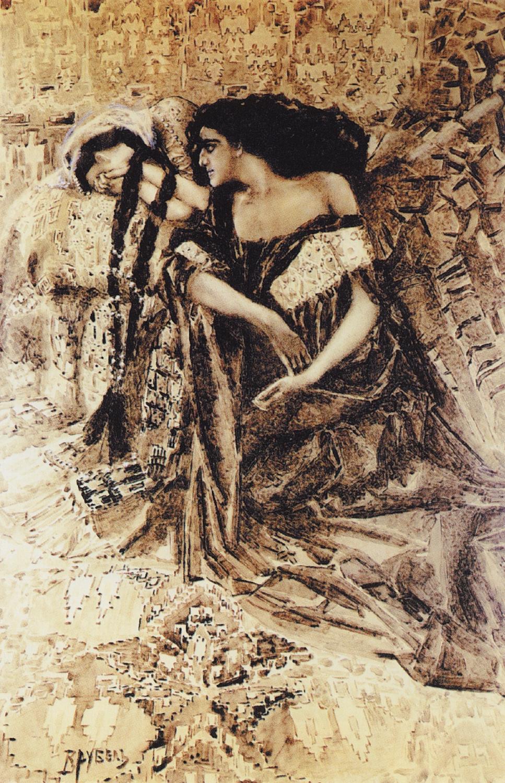 "Mikhail Vrubel. Tamara and the Demon. Illustration to the poem by Mikhail Lermontov ""Demon"""