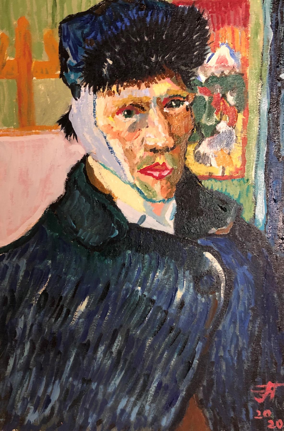 Sergey Vladimirovich Sebini. Self-portrait. On the subject of Van Gogh.