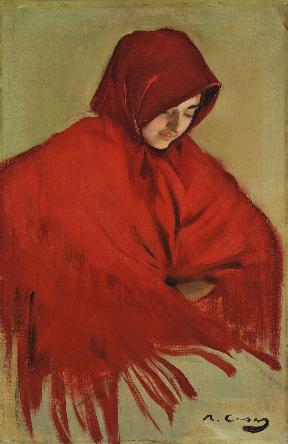 Ramon Casas i Carbó. Gypsy with a red shawl