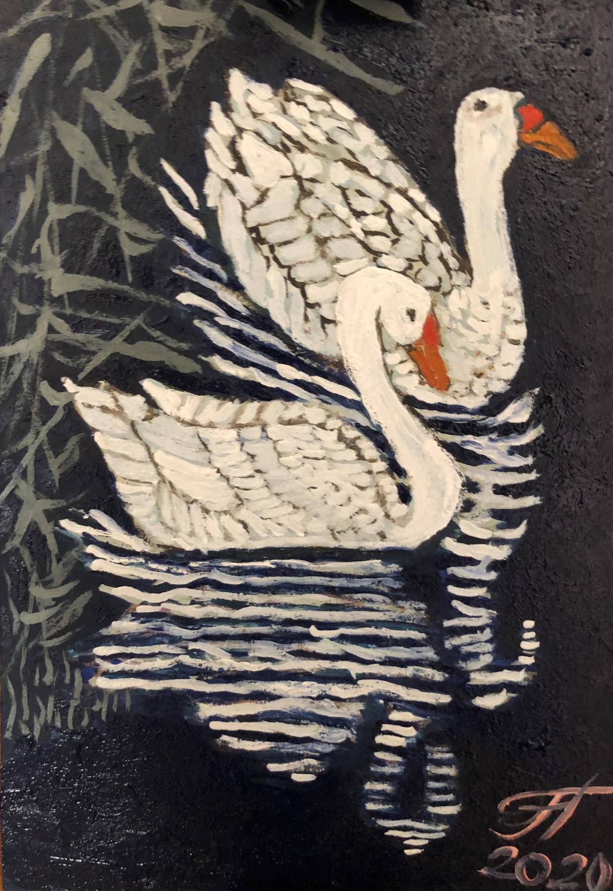 Sergey Vladimirovich Sebini. Two geese in Kamysh. On the theme of Ohara Kasan.