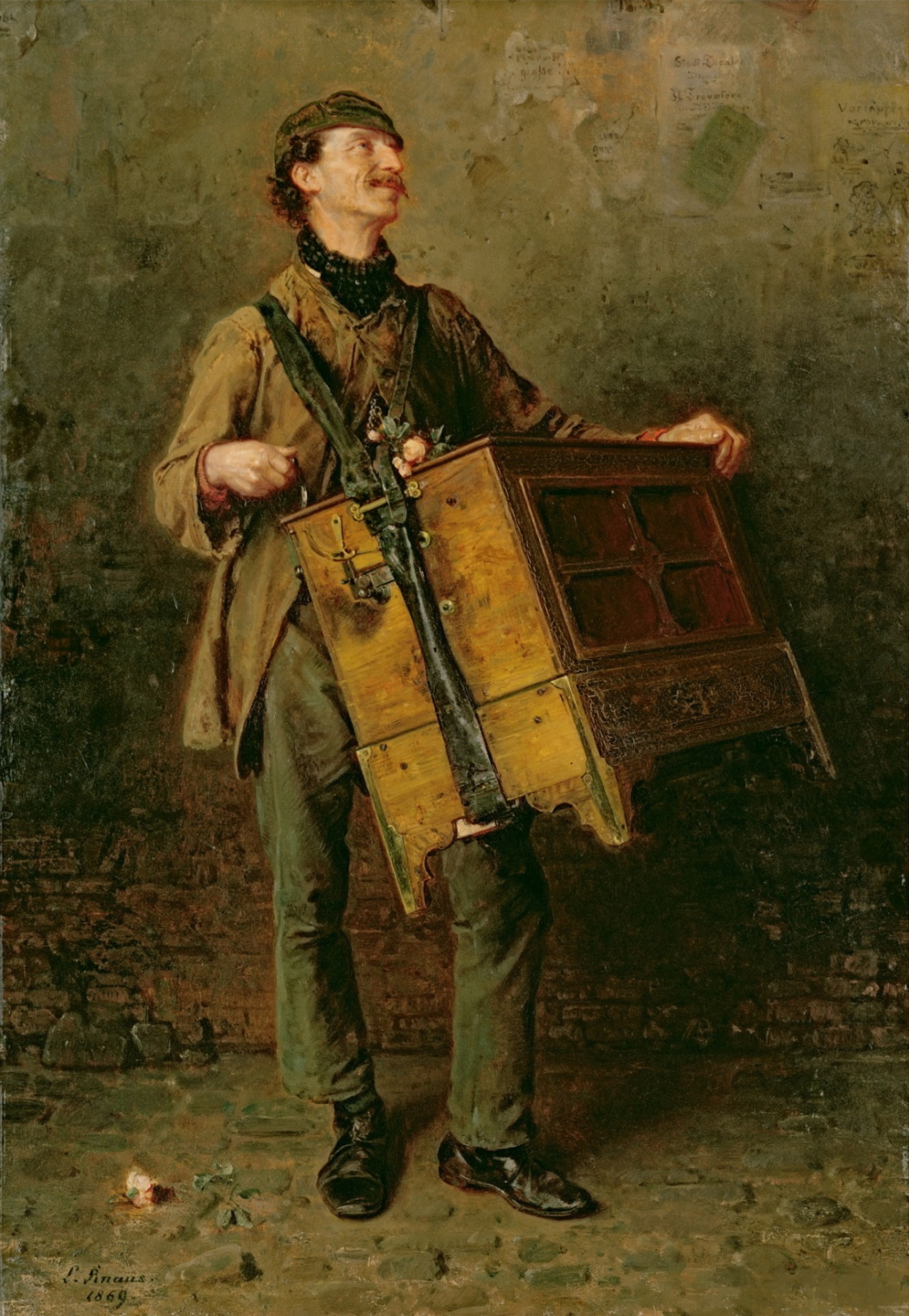 Ludwig Knaus. Musician with a wheeled lyre