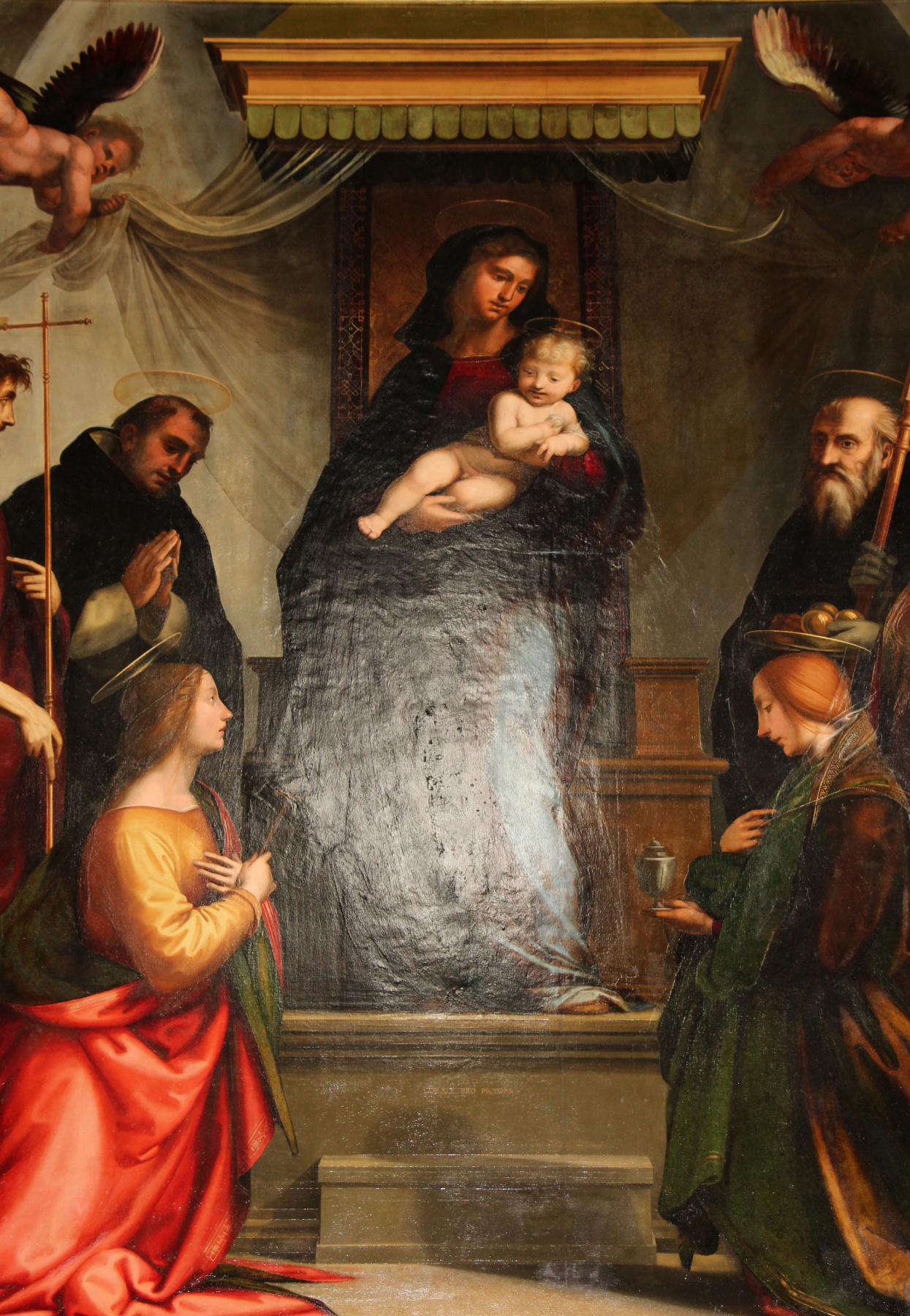 """Fra Bartolomeo. Madonna and Saints. Altar """"Madonna under the canopy"""" of the church of San Marco, Florence"""