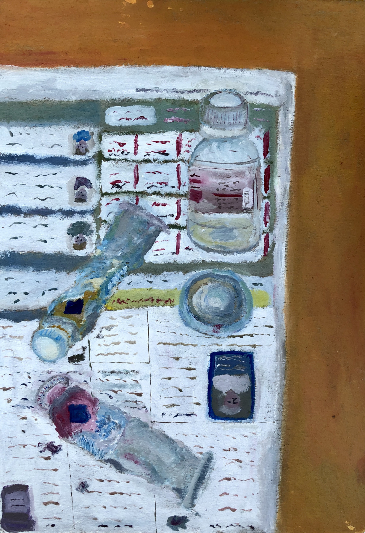 Vladislav Vossoyed. Still life with tubes of paint