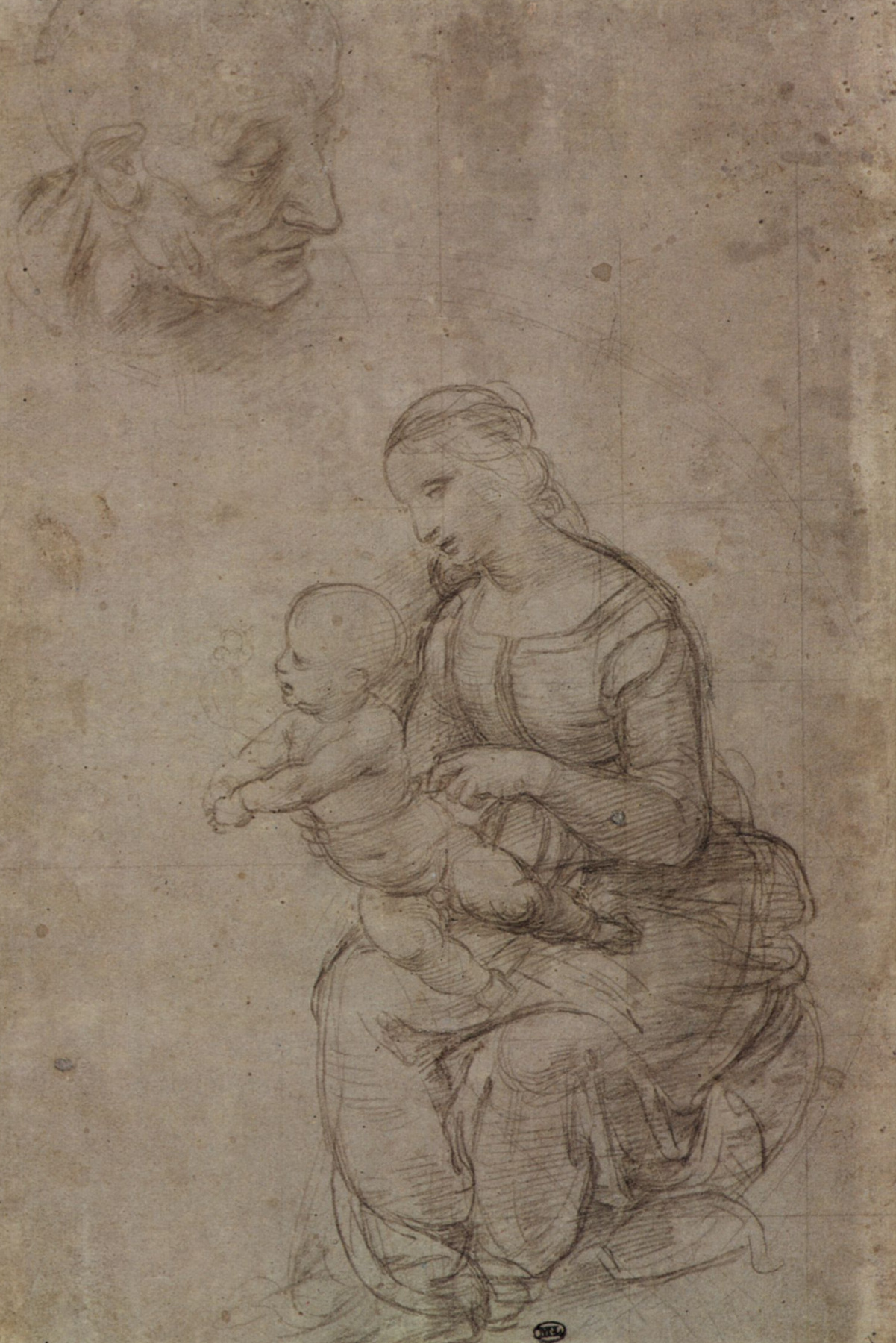 "Raphael Sanzio. Head of a man and a woman with a child. Sketch for ""the Holy family under a palm tree"""