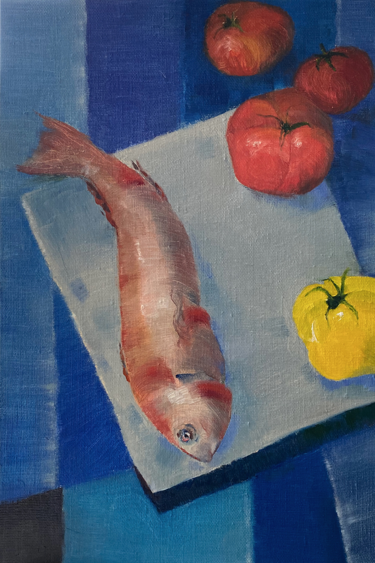 Andrey Trubin. Still life with fish and tomatos