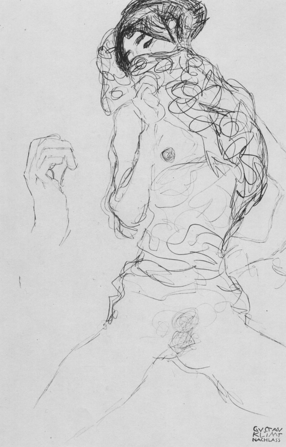 """Gustav Klimt. Half-naked with a partially covered face and hand sketch (Sketch for """"the Bride"""")"""