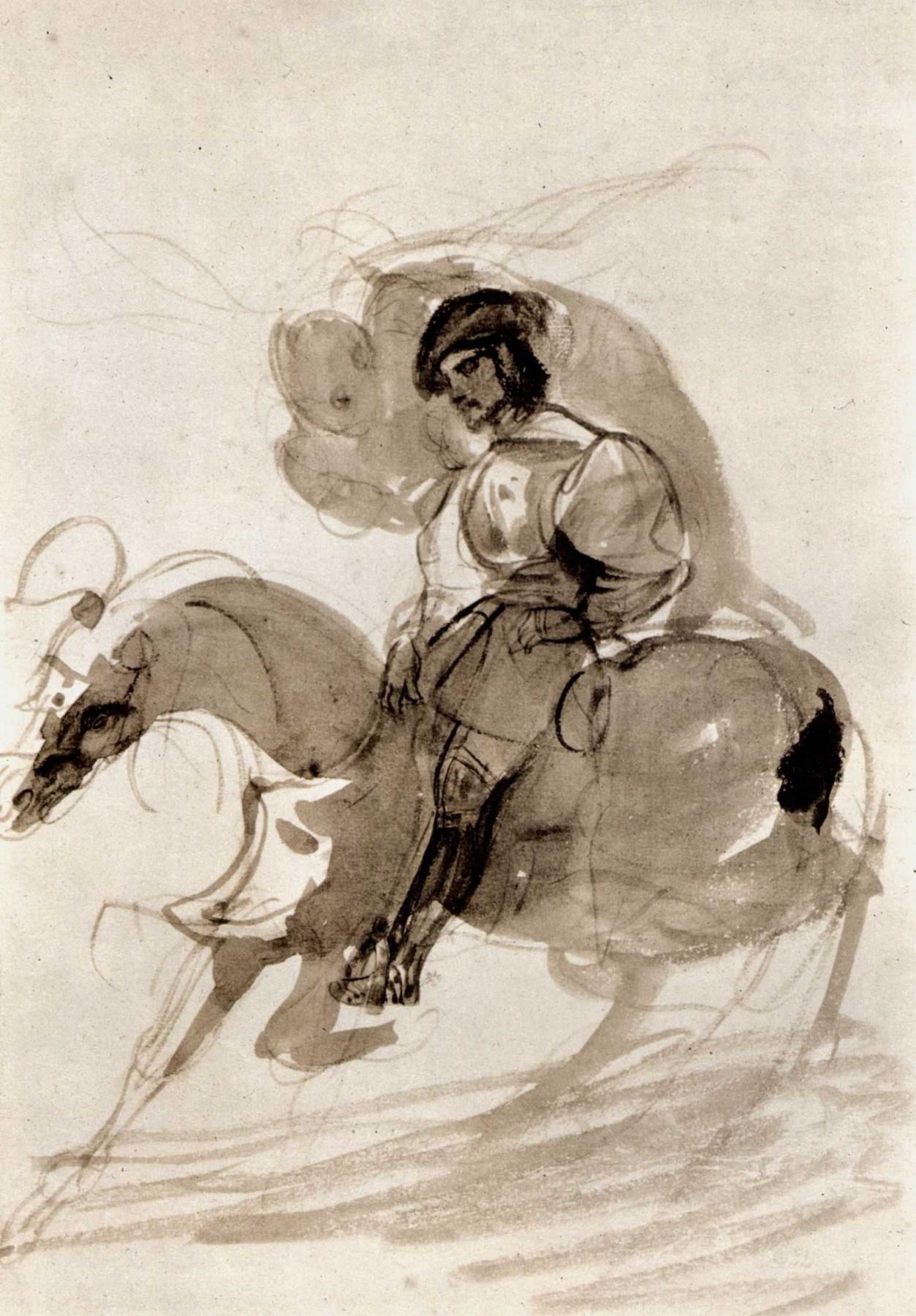 Eugene Delacroix. Constable de Bourbon, pursued by Conscience