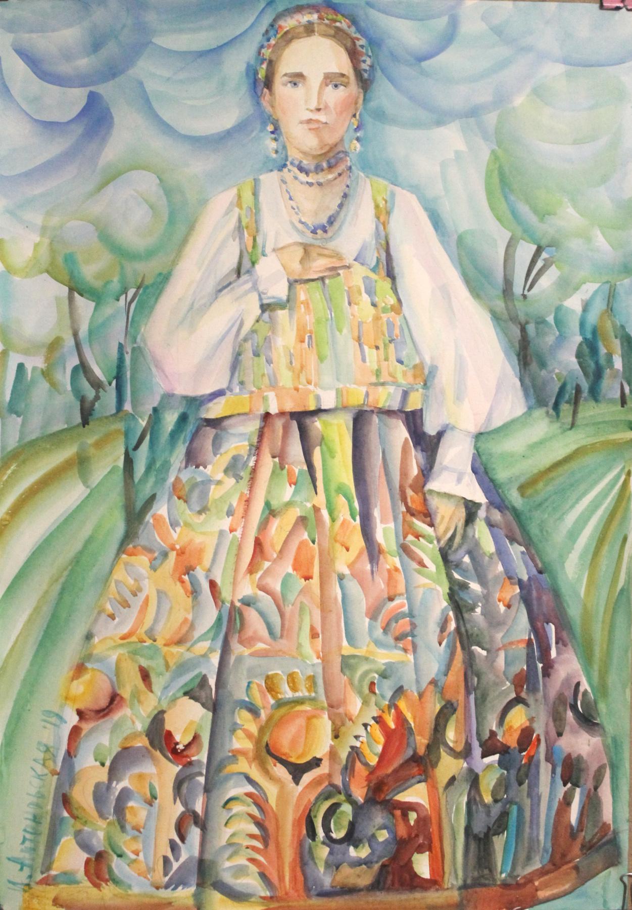 Irina Valerievna Antonovskaya. Girl in a sundress