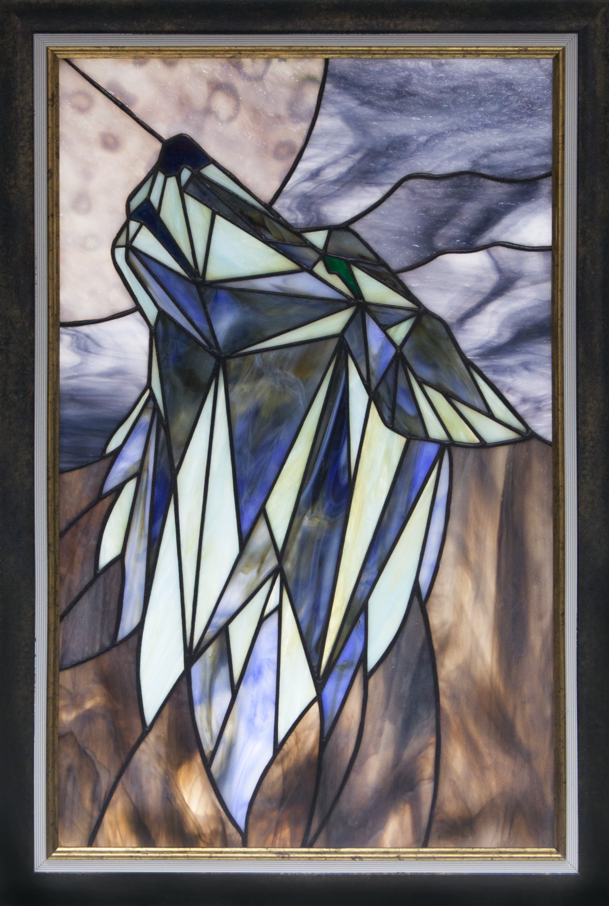 """Andrey Andreevich Dzyuba. Stained glass panel """"Wolf. Night. Moon."""""""