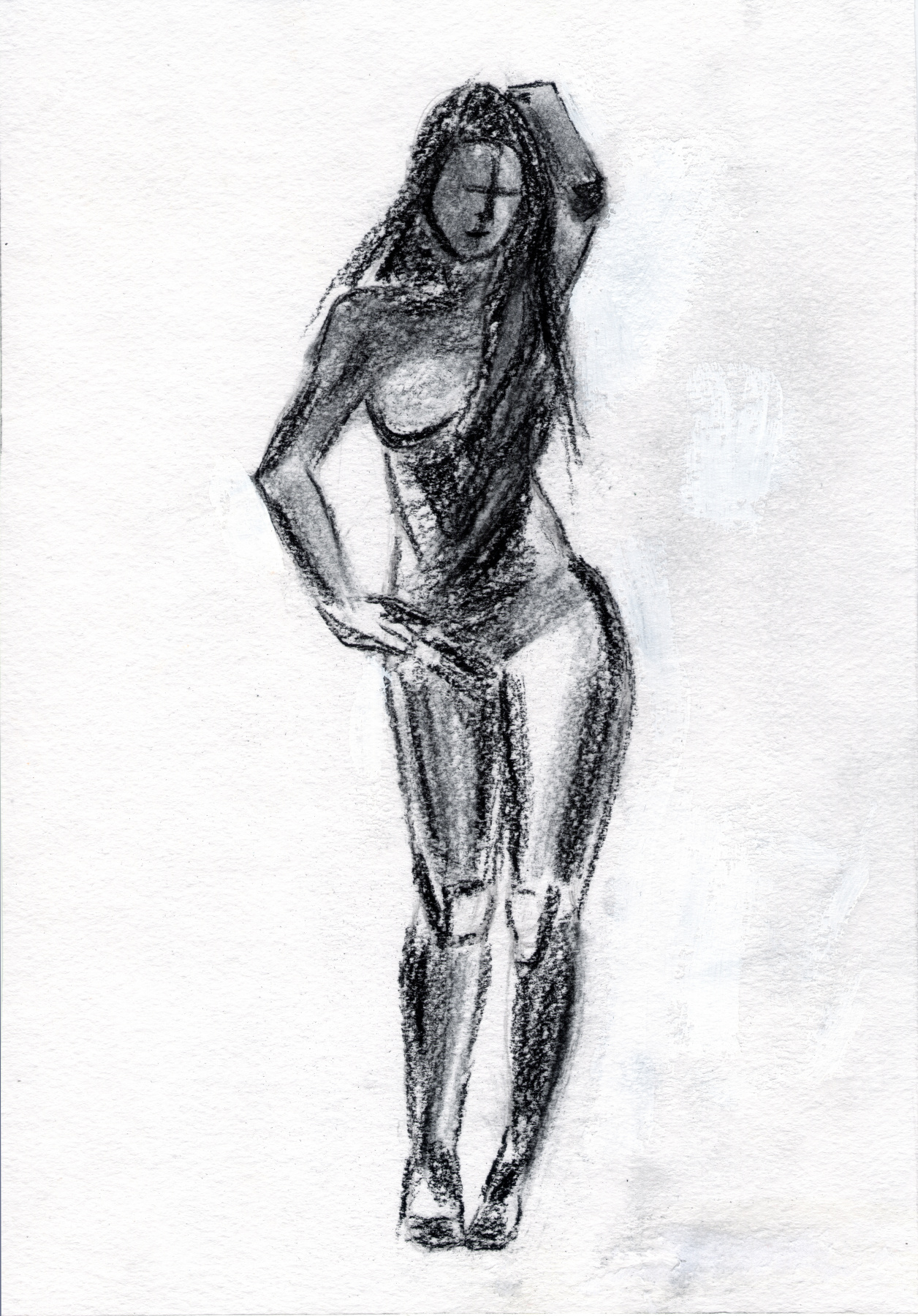 Polina. A woman with a hand behind her head. Sketch