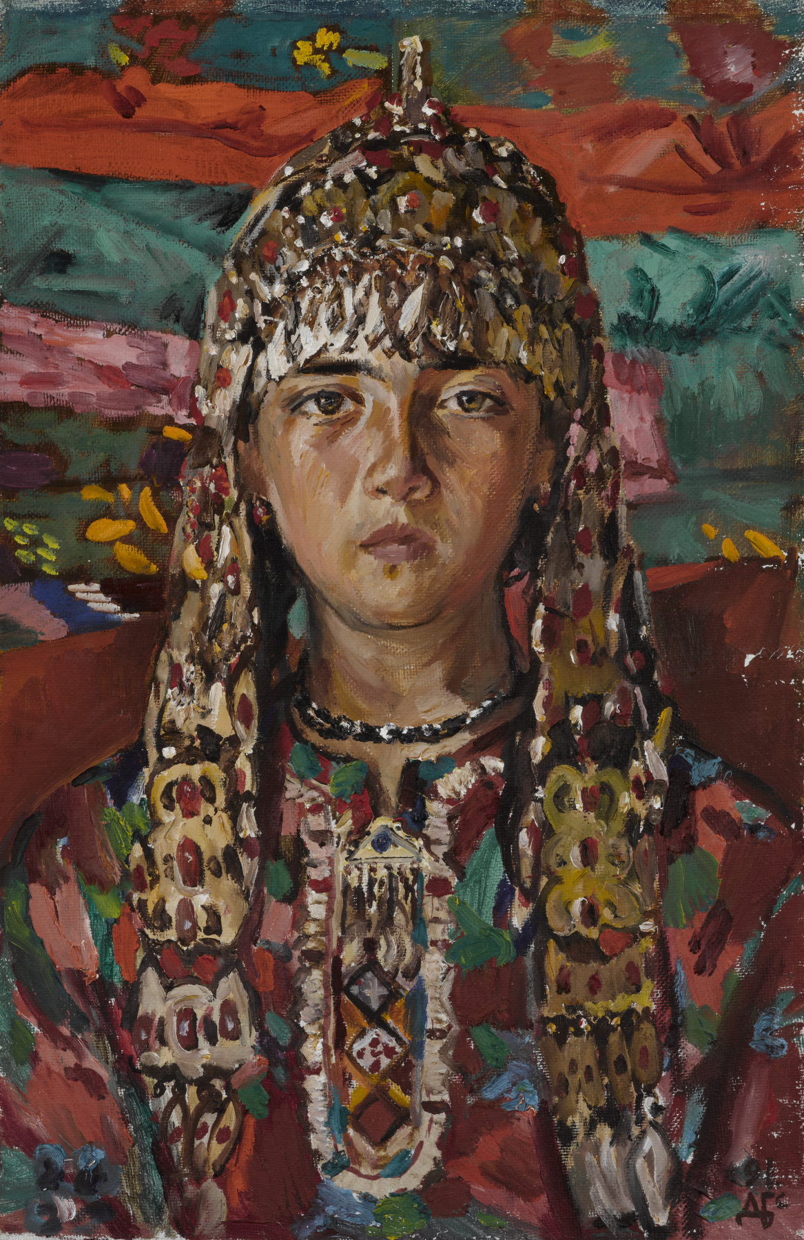Дурды Байрамович Байрамов. Portrait of Mergen. A girl with Turkmen ornaments.